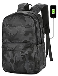cheap -Men's Oxford Cloth School Bag Functional Backpack Large Capacity Waterproof Zipper Solid Color Sports & Outdoor Daily Backpack Black