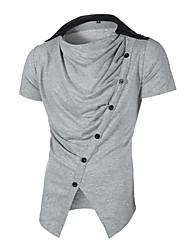 זול -בגדי ריקוד גברים אחיד טישרט בסיסי סגנון רחוב יומי לבן / שחור / אפור בהיר / אפור כהה