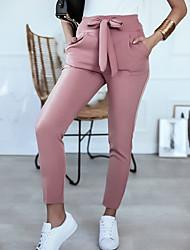 cheap -Women's Basic Daily Chinos Pants - Solid Colored Black Blushing Pink Khaki S / M / L