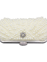 cheap -Women's Bags Polyester Evening Bag Pearls Crystals Wedding Bags Party Event / Party White