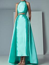 cheap -Sheath / Column Beautiful Back Elegant Engagement Prom Dress Halter Neck Sleeveless Floor Length Satin with Beading 2021
