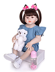 cheap -KEIUMI 22 inch Reborn Doll Baby & Toddler Toy Reborn Toddler Doll Baby Girl Gift Cute Washable Lovely Parent-Child Interaction Full Body Silicone 23D125-C81-H149-S07-T19 with Clothes and Accessories