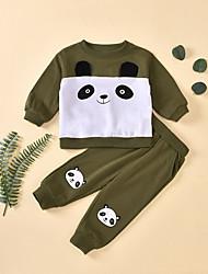 cheap -Baby Girls' Basic Chinoiserie Print Patchwork Long Sleeve Regular Regular Clothing Set Army Green