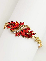cheap -Women's AAA Cubic Zirconia Chain Bracelet Hollow Out Leaf Drop Stylish Classic Alloy Bracelet Jewelry Black / Red For Festival