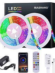 cheap -5M 10M 15M 20M LED Strip Lights RGB Waterproof LED Light Strip Music Sync LED 2835 SMD Color Changing LED Strip Light and 24 Keys Remote Bluetooth Controller for Bedroom Home TV Back Lights