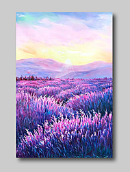 cheap -Oil Painting Hand Painted - Abstract Abstract Landscape Comtemporary Modern Stretched Canvas Lavender Field Purple Flowers