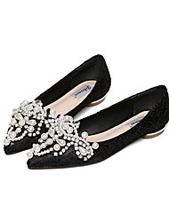 cheap -Women's Flats Flat Heel Pointed Toe Basic Casual Daily Walking Shoes Mesh Rhinestone Solid Colored Almond Black / Booties / Ankle Boots