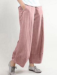 cheap -Women's Basic Wide Leg Pants - Solid Colored Black Dusty Rose Light gray S / M / L