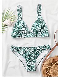 cheap -Women's Bikini Tankini Swimsuit Print Floral Leopard White Red Yellow Green Swimwear Padded Bathing Suits / Animal