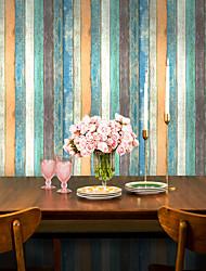 cheap -Mediterranean Stripe Self-Adhesive Wood Grain Wallpaper Retro Nostalgic Wooden Board Living Room Home Decoration Wall Stickers