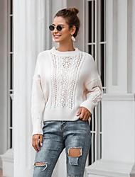billige -Dame Ensfarvet Langærmet Pullover Sweater Jumper, Bateau-hals Vinter Hvid / Grøn En Størrelse