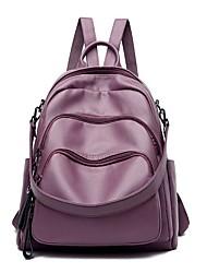 halpa -Suuri tilavuus PU Vetoketjuilla Backpack Yhtenäinen väri Urheilu ja ulkoilu Musta / Uima-allas / Purppura