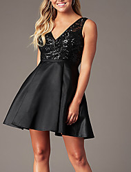 cheap -A-Line Flirty Sparkle Homecoming Cocktail Party Dress V Neck Sleeveless Short / Mini Satin Sequined with Sequin 2020