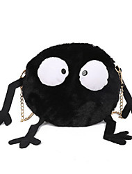 cheap -Women's Faux Fur Crossbody Bag Fur Bag Color Block Black
