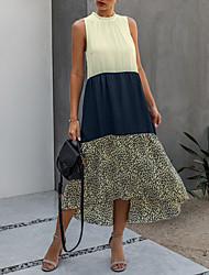 cheap -Women's Shift Dress Midi Dress Sleeveless Leopard Print Summer Casual 2021 Black Dusty Blue S M L XL XXL