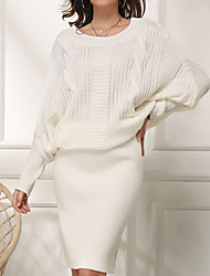 cheap -Women's Sweater Jumper Dress Knee Length Dress - Long Sleeve Knitted Fall Winter Casual Hot 2020 White Green S M L XL