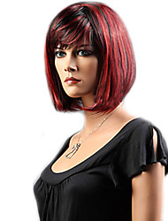 cheap -Cosplay Costume Wig Synthetic Wig Straight Bob Neat Bang With Bangs Wig Short Black Black / Red Rainbow Synthetic Hair 12 inch Women's Women Synthetic Sexy Lady Black Mixed Color hairjoy