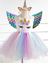 cheap -Unicorn Dress Girls' Movie Cosplay Vacation Dress New Year's Golden Silver Rainbow Dress Wings Headwear Christmas Halloween Carnival Polyester / Cotton Polyester