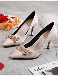 cheap -Women's Heels Summer Stiletto Heel Pointed Toe Wedding Daily Floral Satin Red / Champagne