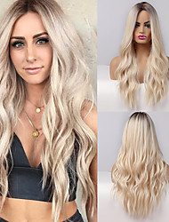 cheap -Synthetic Wig Curly Natural Wave Middle Part Side Part Wig Very Long Ombre Blonde Synthetic Hair 26 inch Women's Fashionable Design Cosplay Party Blonde Ombre BLONDE UNICORN / African American Wig