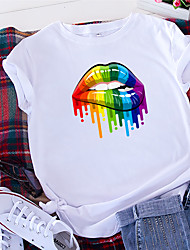 cheap -Women's T shirt Rainbow Food Print Round Neck Tops 100% Cotton Basic Basic Top White Black Yellow
