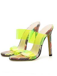 رخيصةأون -نسائي النعال ومتخاذلا يتخبط الصيف كعب ستيلتو حذاء براس مدبب مناسب للبس اليومي ثعبان PVC أبيض / أحمر / أخضر