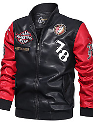 cheap -Men's Stand Collar Faux Leather Jacket Regular Letter Daily Basic Print Long Sleeve Black Blue Red US32 / UK32 / EU40 US34 / UK34 / EU42 US36 / UK36 / EU44 US38 / UK38 / EU46 / Sports