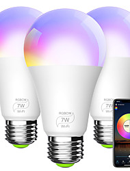 cheap -Smart Light Bulb A19 E26 RGBCW WiFi Dimmable Multicolor LED Lights Compatible with Alexa Google Home and IFTTT (No Hub Required) 7W (60w Equivalent)