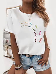 cheap -Women's T shirt Butterfly Graphic Prints Round Neck Tops 100% Cotton Basic Top White