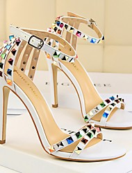 cheap -Women's Sandals Summer Stiletto Heel Open Toe Daily Solid Colored PU Nude / White / Black