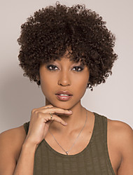 cheap -Remy Human Hair Wig Short Afro Curly Asymmetrical Brown Easy to Carry Women New Capless Brazilian Hair Burmese Hair Women's Medium Brown#4 14 inch