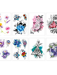 cheap -LITBest 6 Sheets Randomly Temporary Tattoos Flowers Temporary Tattoos Stickers, Roses, Butterflies and Multi-Colored Mixed Style Body Art Temporary Tattoos for Women, Girls or Kids TH241-TH248