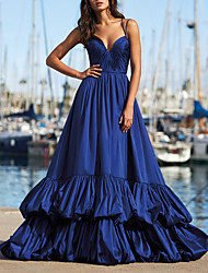 cheap -A-Line Elegant Beautiful Back Engagement Formal Evening Dress Spaghetti Strap Sleeveless Sweep / Brush Train Taffeta with Pleats Tier 2020