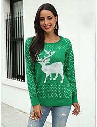 povoljno -Žene Ležerno / za svaki dan Klasičan Životinja Pullover Dugih rukava Duks džemper Lađa izrez Red Djetelina