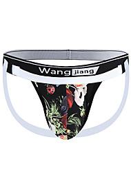cheap -Men's Print G-string Underwear - Normal Low Waist White Black Blue M L XL