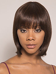 cheap -Remy Human Hair Wig Short Silky Straight Pixie Cut Brown Easy to Carry Women New Capless Brazilian Hair Burmese Hair Women's Medium Brown#4 14 inch