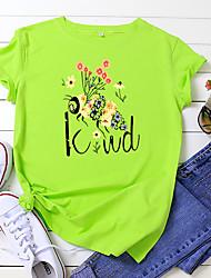 cheap -Women's Be kind T-shirt Animal Letter Print Round Neck Tops 100% Cotton Basic Basic Top White Black Yellow