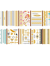cheap -LITBest  6 pcs Metallic Temporary Tattoos Shimmer Designs in Gold, Silver, Black and Turquoise - Fake Jewelry Tattoos