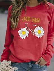 cheap -Women's Sweatshirt Floral Casual Hoodies Sweatshirts  Cotton Loose Blue Red Green