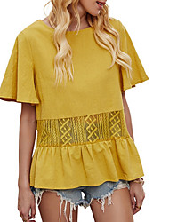 cheap -Women's Blouse Shirt Solid Colored Round Neck Tops Loose Cotton Basic Top Yellow