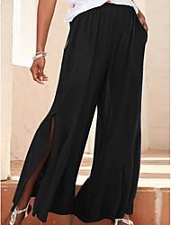 cheap -Women's Basic Bootcut Pants - Solid Colored Black Blue Green S / M / L