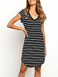 cheap -Women's T Shirt Dress Tee Dress Short Mini Dress Black Short Sleeve Striped Summer V Neck Casual Cotton 2021 S M L XL XXL 3XL