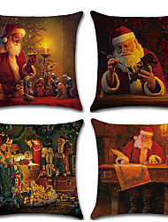 cheap -4pcs Christmas Cushion Cover Santa Claus Decorative Throw Pillow Cover Linen Pillowcases 18 x 18 inches/ 45 x 45 cm