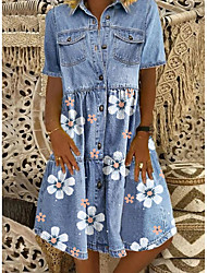cheap -Women's Denim Shirt Dress Knee Length Dress - Short Sleeve Floral Pocket Button Front Summer Shirt Collar Casual 2020 Blue M L XL XXL XXXL