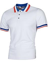 זול -בגדי ריקוד גברים אחיד Polo בסיסי יומי לבן / שחור / אודם / צהוב / חאקי / אפור בהיר / כחול נייבי