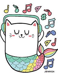 billige -hjem dekoration tegneserie musik kat havfrue børn soveværelse vægklistermærker kreative dørklistermærker