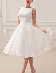 cheap -A-Line Wedding Dresses Jewel Neck Short / Mini Satin Sleeveless Vintage Little White Dress 1950s with Bow(s) 2021