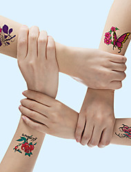 cheap -21 pcs/set Temporary TattoosTattoo Designs Flower Tattoo Designs Roses, Butterflies and Multi-Colored Mixed Style Body Art Temporary Tattoos for Women, Girls or Kids