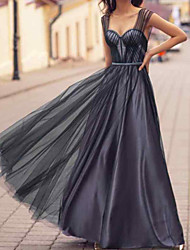cheap -A-Line Elegant Empire Engagement Prom Dress Sweetheart Neckline Sleeveless Floor Length Tulle Stretch Satin with Pleats 2020