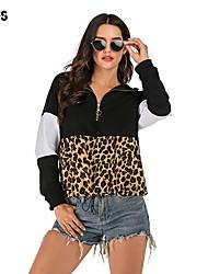 povoljno -Žene Hoodie Leopard Osnovni Hoodies majica Lila-roza Crn
